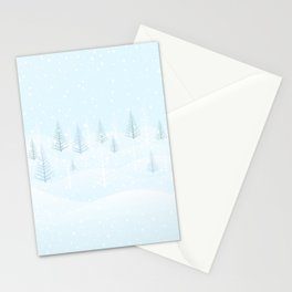 Frosty Forest Winter Morning Stationery Cards