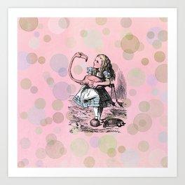Alice plays Croquet Art Print