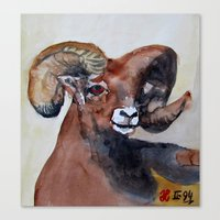 ram Canvas Prints featuring Ram  by Woolpecula