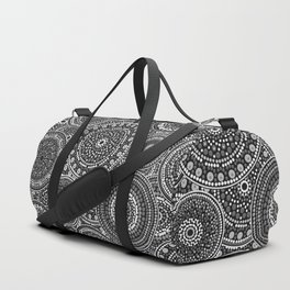 Dot Art Circles Grayscale Duffle Bag