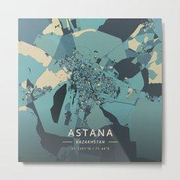 Astana, Kazakhstan - Cream Blue Metal Print