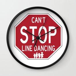 Funny Line Dancing Stop Sign Wall Clock