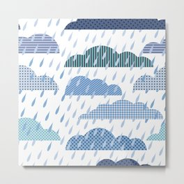 Rainy seamless pattern with clouds Metal Print