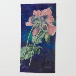 French Poppy - Vintage Botanical Illustration Collage Beach Towel