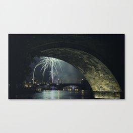 Fireworks by Charles Bridge Canvas Print