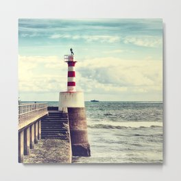 Amble Pier Lighthouse Metal Print