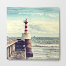 Amble Pier Lighthouse Metal Print