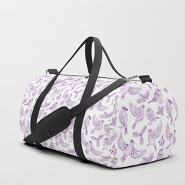 Winter Birds and Foliage Pattern (Purple) Duffle Bag