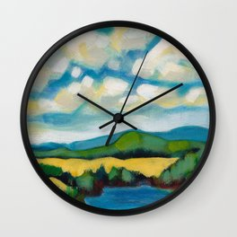 Cooking Lake Landscape by Dennis Weber of ShreddyStudio Wall Clock