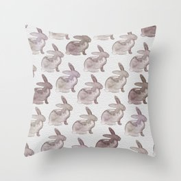 Watercolor Bunnies 1M by Kathy Morton Stanion Throw Pillow