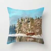 cabin Throw Pillows featuring Winter Cabin by E.M. Shafer