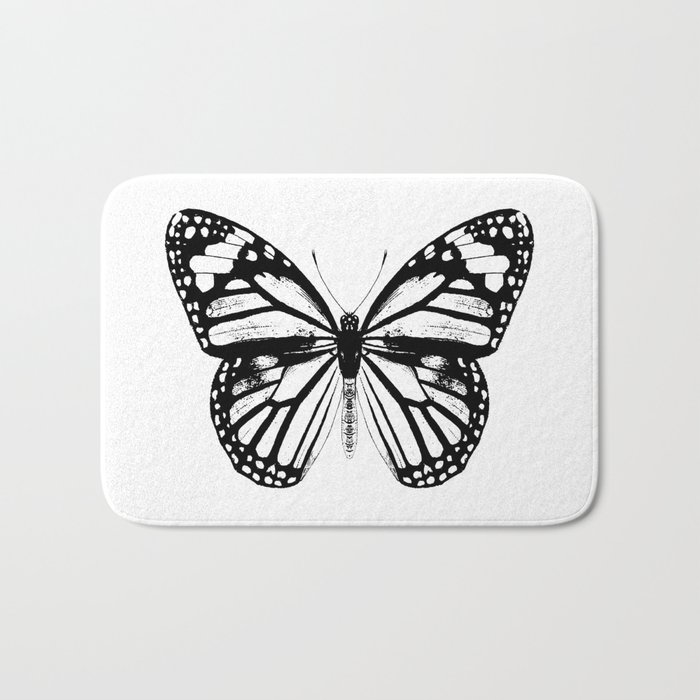 Monarch Butterfly | Vintage Butterfly | Black and White | Bath Mat