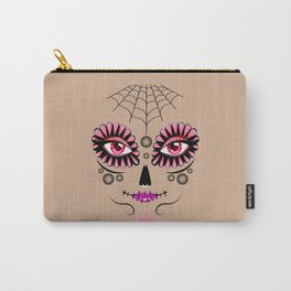 Pink floral sugar skull Carry-All Pouch