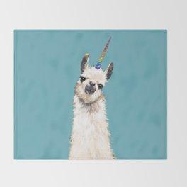 Unicorn Llama Blue Throw Blanket