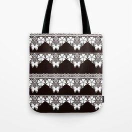 White lace Butterfly on a dark brown background . Tote Bag