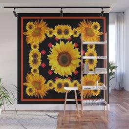 Black Western Blanket Style Sunflowers Wall Mural