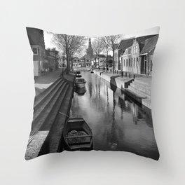 Canal in Medemblik Throw Pillow