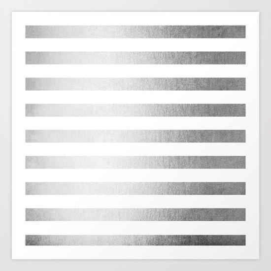 Simply Striped Moonlight Silver Art Print