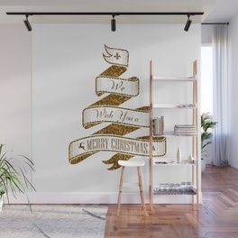 Merry Christmas- Glitter Gold Xmas Typography Wall Mural