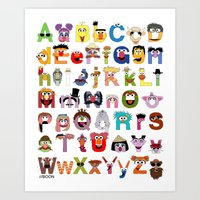 sesame street Art Prints featuring Sesame Street Alphabet by Mike Boon