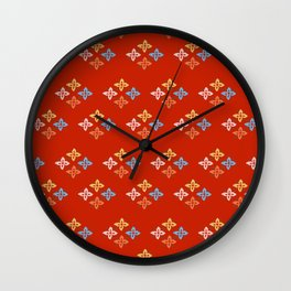 Las Flores - Red 02 (Patterns Please) Wall Clock