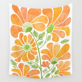 Happy California Poppies / hand drawn flowers Wall Tapestry