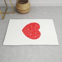 Geometrical Red Heart Triangle Shape  Rug