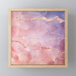 Blush and Purple Sky with Rose gold flashes Framed Mini Art Print