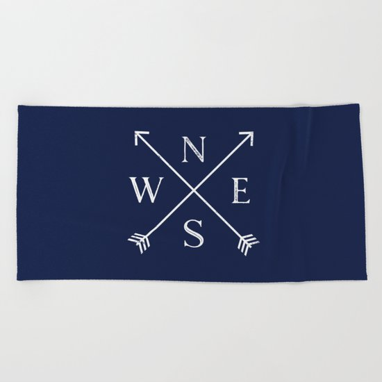 Navy Blue and White Compass Arrows Beach Towel