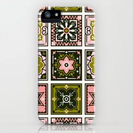 Talavera Mexican Tile – Blush & Sage Palette iPhone Case