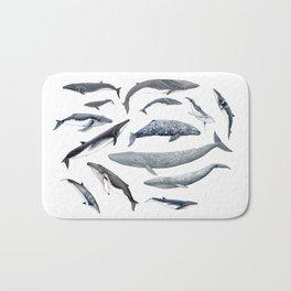 Whales all around Bath Mat