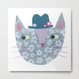 Flowery Cat in a Flowery Hat Metal Print