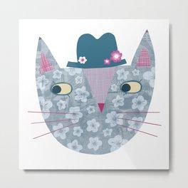Flowery Cat in a Flowery Hat Metal Print