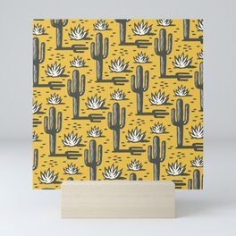 Desert Cactus Pattern 325 Yellow Mini Art Print