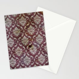 Vintage Antique Eggplant-Colored Wallpaper Pattern Stationery Cards