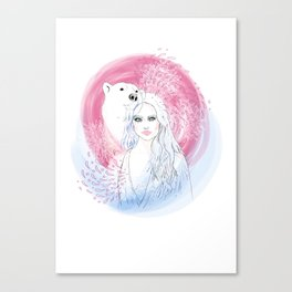 Girl and Polar Bear Canvas Print