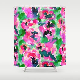 Abstract Flora Green Shower Curtain