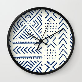 Line Mud Cloth // Ivory & Navy Wall Clock