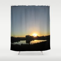 farm Shower Curtains featuring Farm Sunset by I AmErika