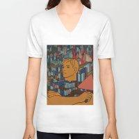 soviet V-neck T-shirts featuring Moscow soviet union propaganda poster by Sofia Youshi