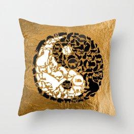 Yin-Yang Cats - Gold Throw Pillow
