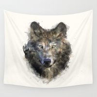wolf Wall Tapestries featuring Wolf // Secure by Amy Hamilton
