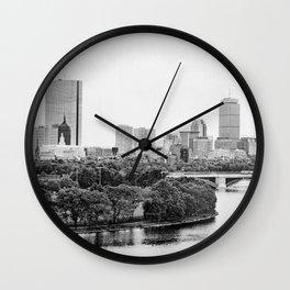Black & White Boston Skyline III Wall Clock
