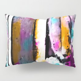 cactus with wooden background and colorful painting abstract in orange blue pink Pillow Sham