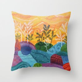 on and on fields Throw Pillow