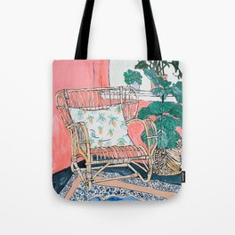 Cane Chair in Pink Interior Tote Bag
