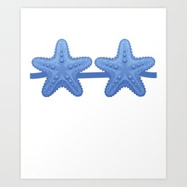 Starfish Bra Blue Funny Lazy Costume Halloween Art Print