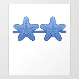Starfish Bra Blue Funny Lazy Costume Halloween Art Print