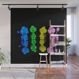 Four Colorful Balloon Animal Poodle Dogs on Black Wall Mural