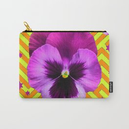 PURPLE STARS & PURPLE PANSIES ORANGE-LIME PATTERNS Carry-All Pouch